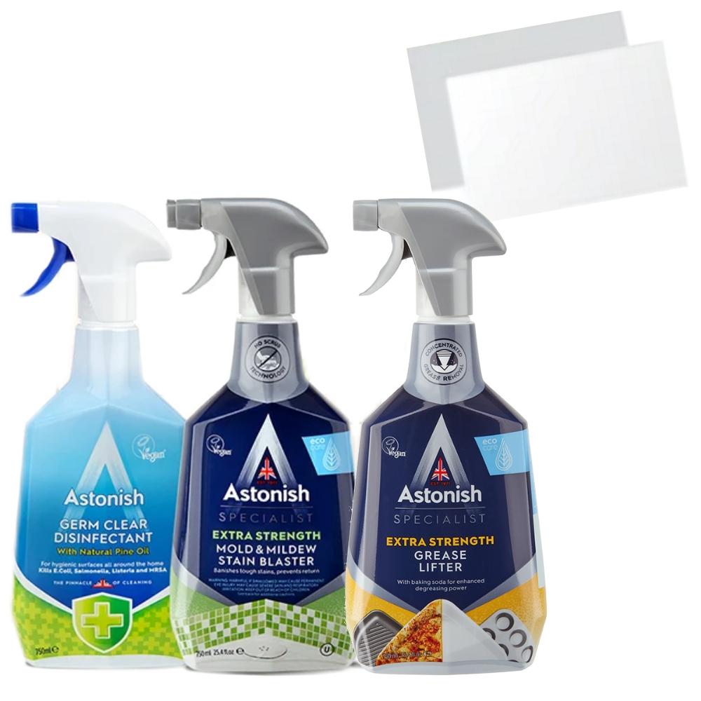 英國潔除黴/橫掃油汙除油/除臭抗菌4合1噴劑清潔套組3瓶ASTONISH贈品