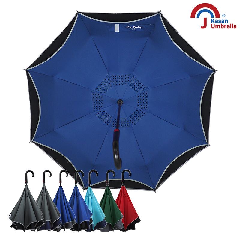 【皮爾卡登】雙層紳士自動反向傘-藍黑