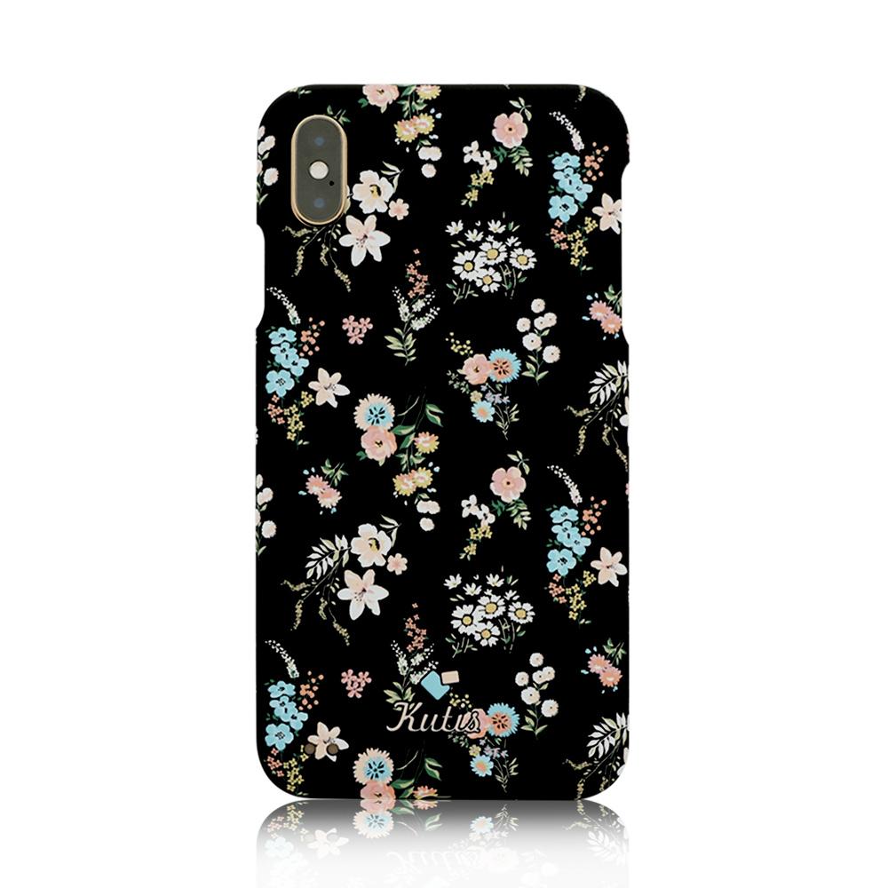 KUTIS iPhone Xs Max 花系列正反全包手機保護殼【贈】保貼-黑