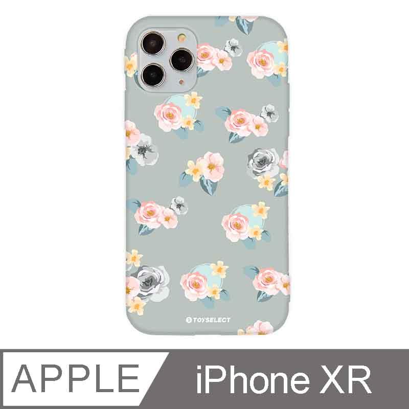 iPhone XR 6.1吋 花言花語Flower Series設計iPhone手機殼 微醺粉玫瑰 淡灰色