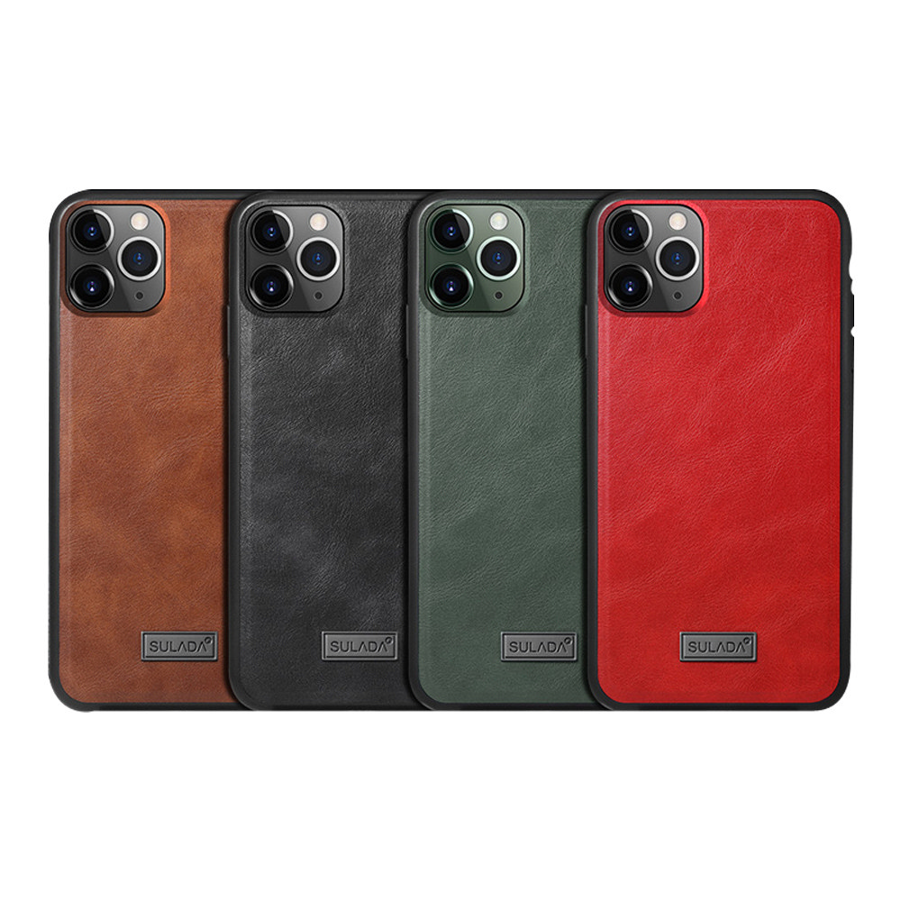 SULADA Apple iPhone 11 Pro Max 皮紋保護套(暗夜綠)