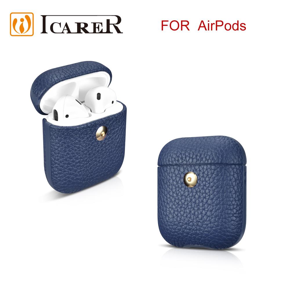 ICARER 荔枝紋系列 AirPods 手工真皮保護套-藍