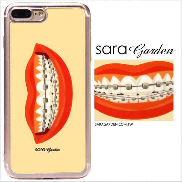 【Sara Garden】客製化 軟殼 蘋果 iPhone7 iphone8 i7 i8 4.7吋 手機殼 保護套 全包邊 掛繩孔 微笑牙套紅唇