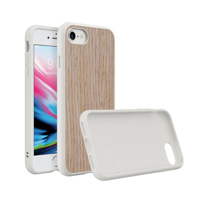 犀牛盾iPhone8/iPhone7 SolidSuit 防摔手機殼 白色/胡桃木紋-杏色