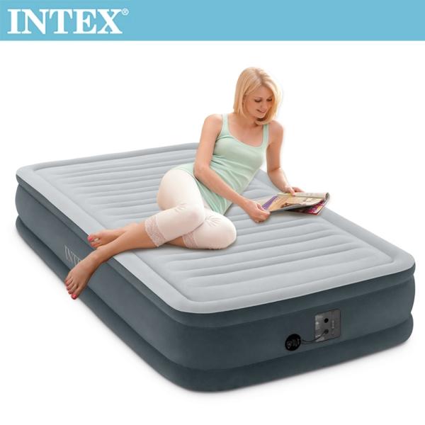 【INTEX】豪華型橫條內建電動幫浦充氣床-單人99cm(67765)