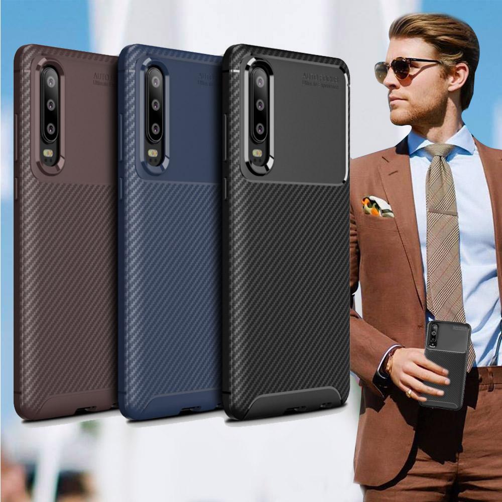 爵士焦點 華為 HUAWEI P30 碳纖維防指紋軟式手機殼(可可咖)
