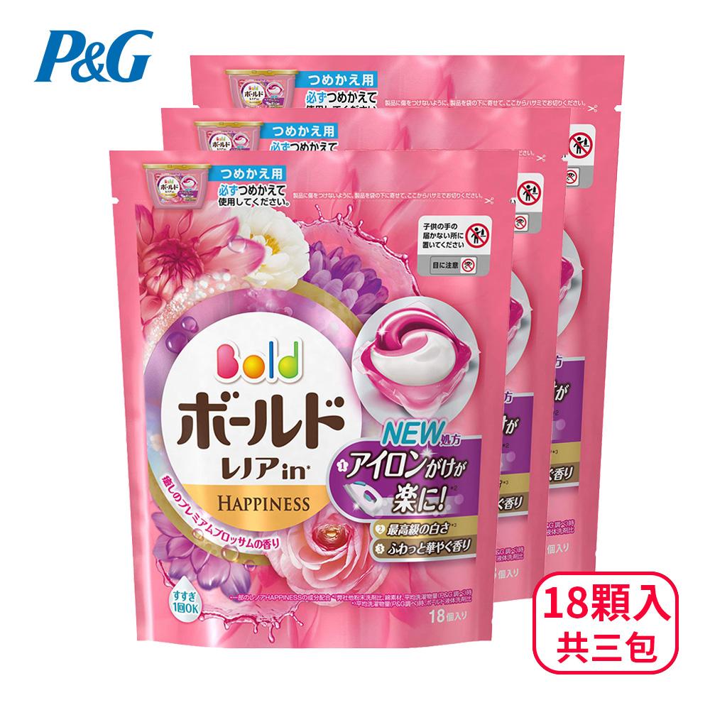 【日本P&G】3D立體洗衣膠球補充包18顆入三包組-牡丹花香