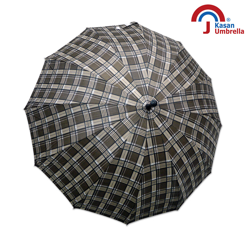 Kasan晴雨傘 大傘面12K銀格自動直傘 咖啡格