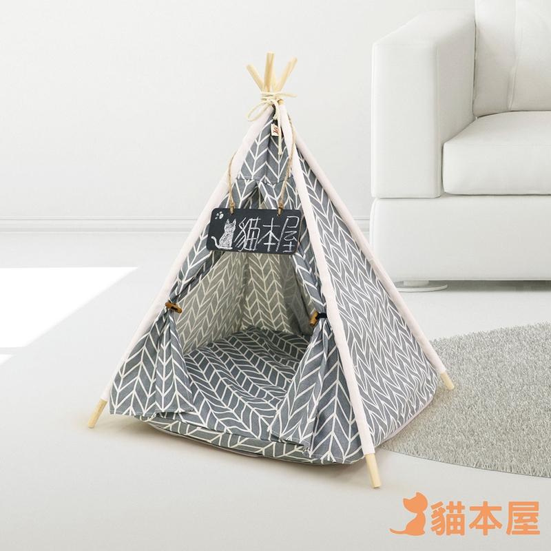 貓本屋 狗窩/貓窩 可拆洗四季通用 四角型亞麻寵物帳篷-灰色