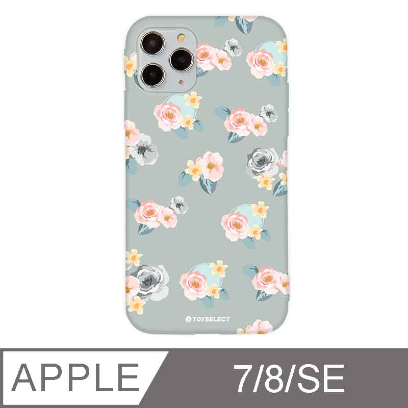 iPhone 7/8/SE 2 4.7吋 花言花語Flower Series設計iPhone手機殼 微醺粉玫瑰 淡灰色