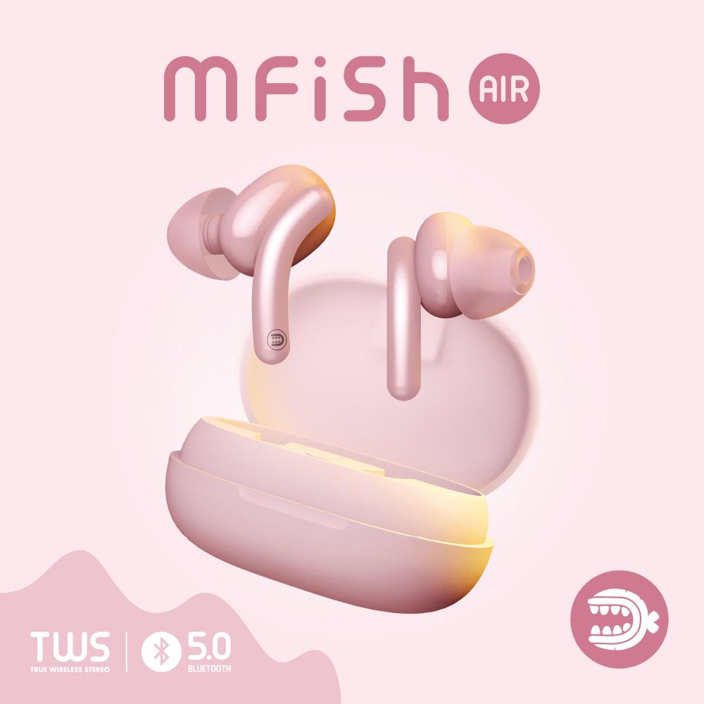 黑魚Mfish Air 藍牙5.0 TWS真無線耳機-粉色