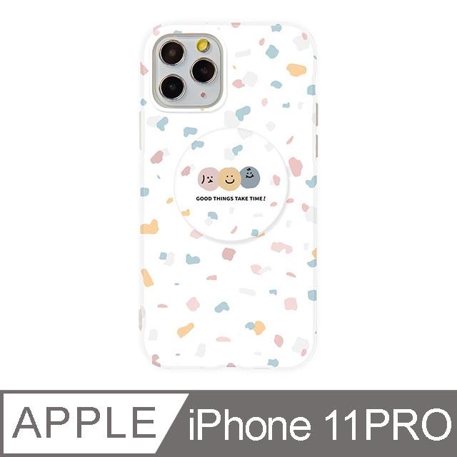 iPhone 11 Pro 5.8吋 Smilie笑臉水磨石氣囊支架iPhone手機殼 碎花三胞胎
