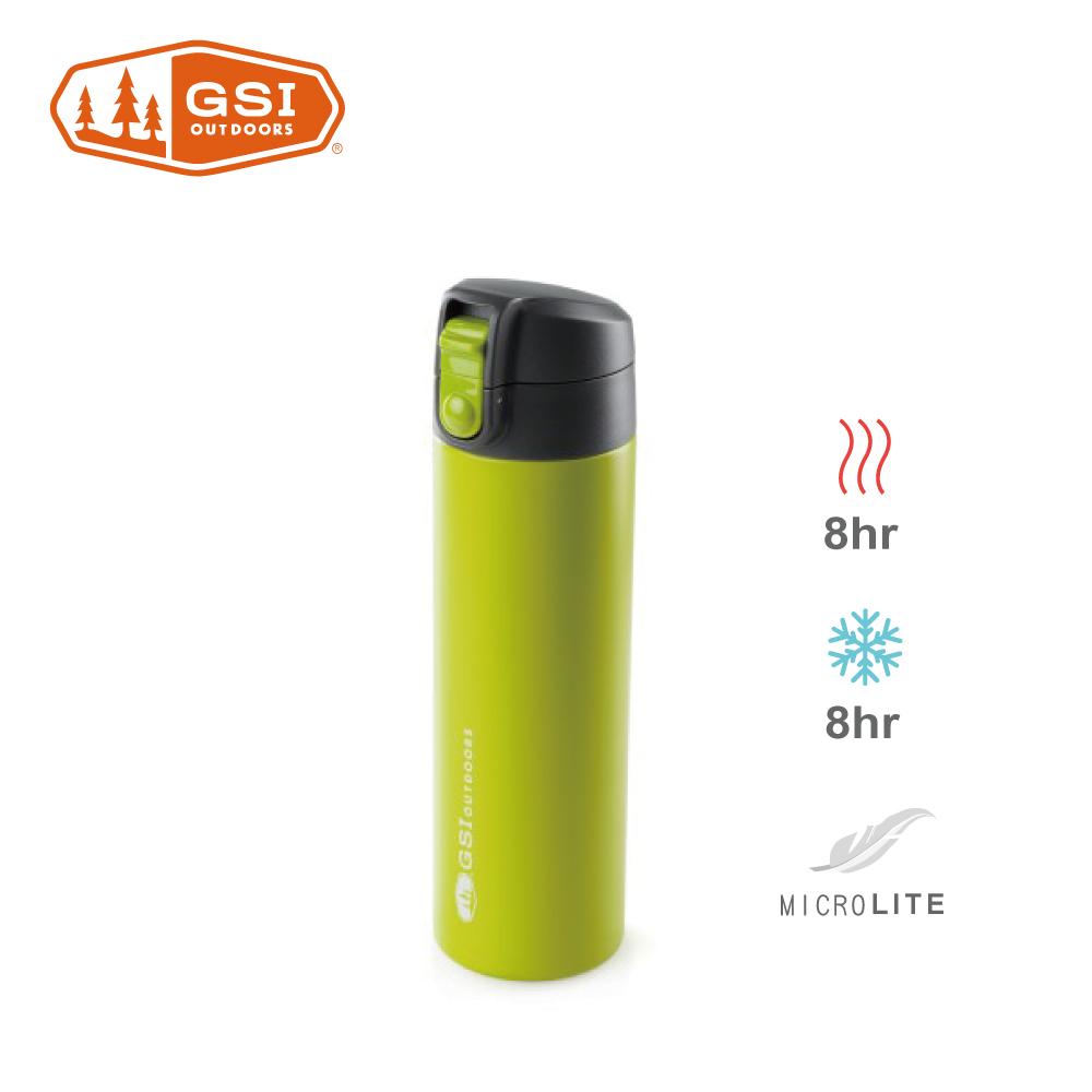 【美國GSI】輕量單手彈蓋不鏽鋼保溫瓶-0.5L綠色