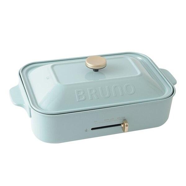 贈日本不鏽鋼料理夾【日本BRUNO 】超值3件組合 BOE021 多功能電烤盤(土耳其藍)公司貨 保固一年 附3個烤盤 料理深鍋+平盤+章魚燒盤