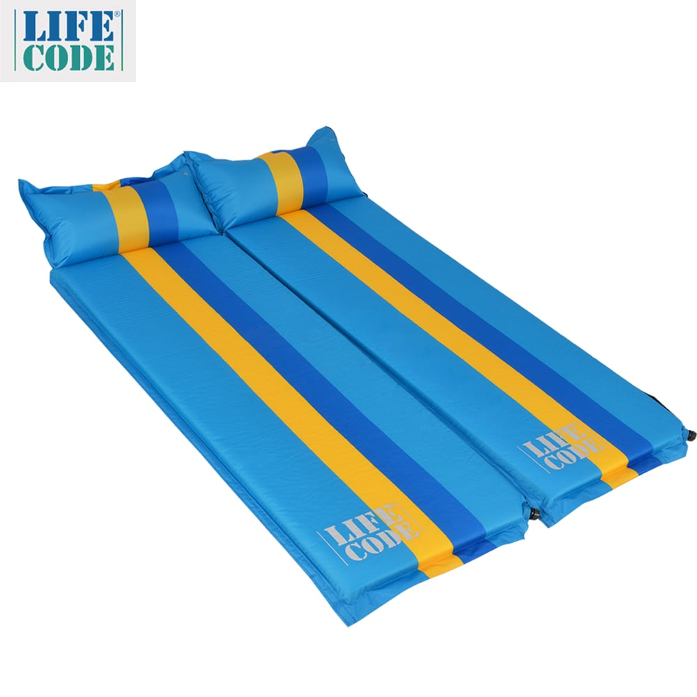 【LIFECODE】條紋可拼接自動充氣睡墊(有枕頭設計)-厚5cm-藍色(2入組)