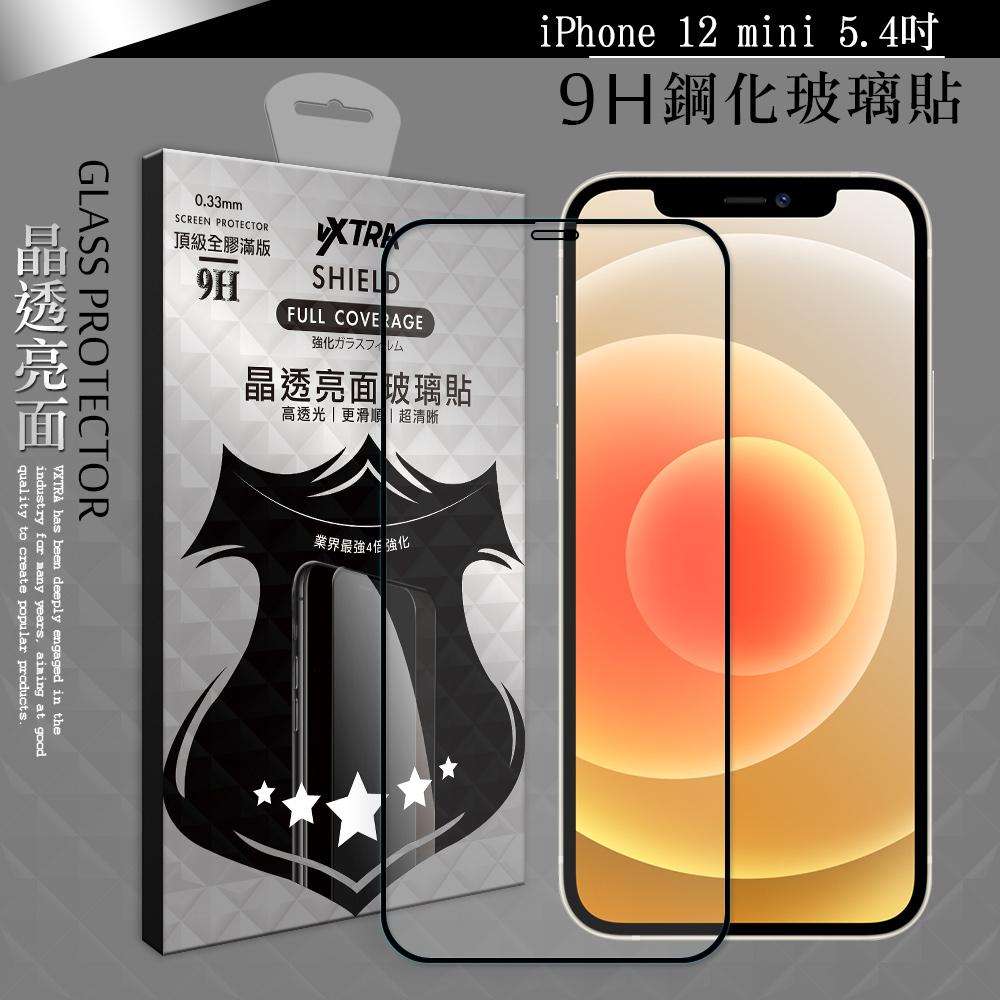 VXTRA 全膠貼合 iPhone 12 mini 5.4吋 滿版疏水疏油9H鋼化頂級玻璃膜(黑)