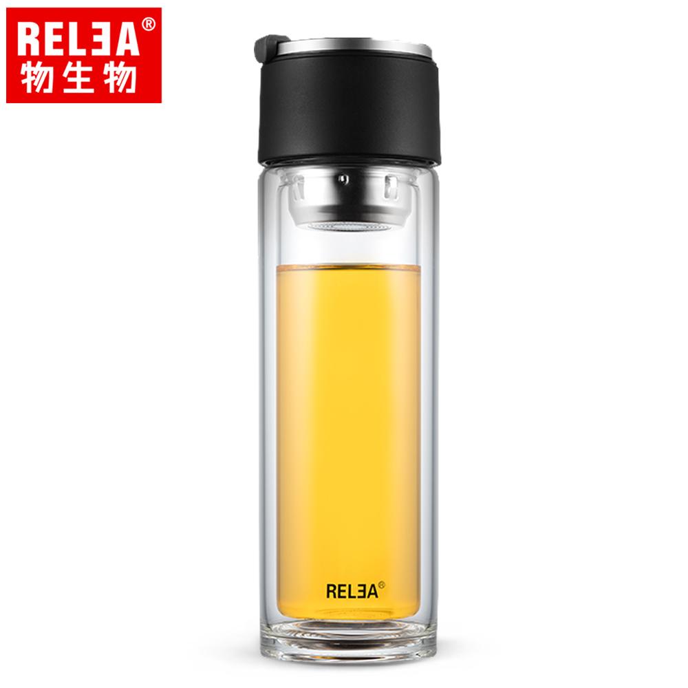 【香港RELEA物生物】310ml旅行家雙層耐熱玻璃杯(自信黑)
