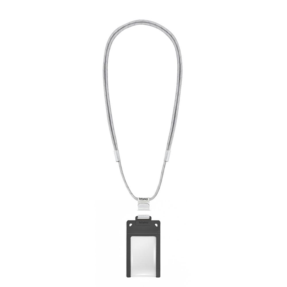 bitplay AquaSeal 防水機能證件套 - 暗夜黑 + 風格掛繩 - 灰色