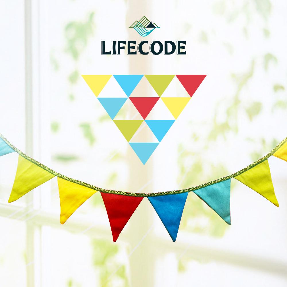 【LIFECODE】14片帆布三角旗/露營裝飾-(附收納袋)