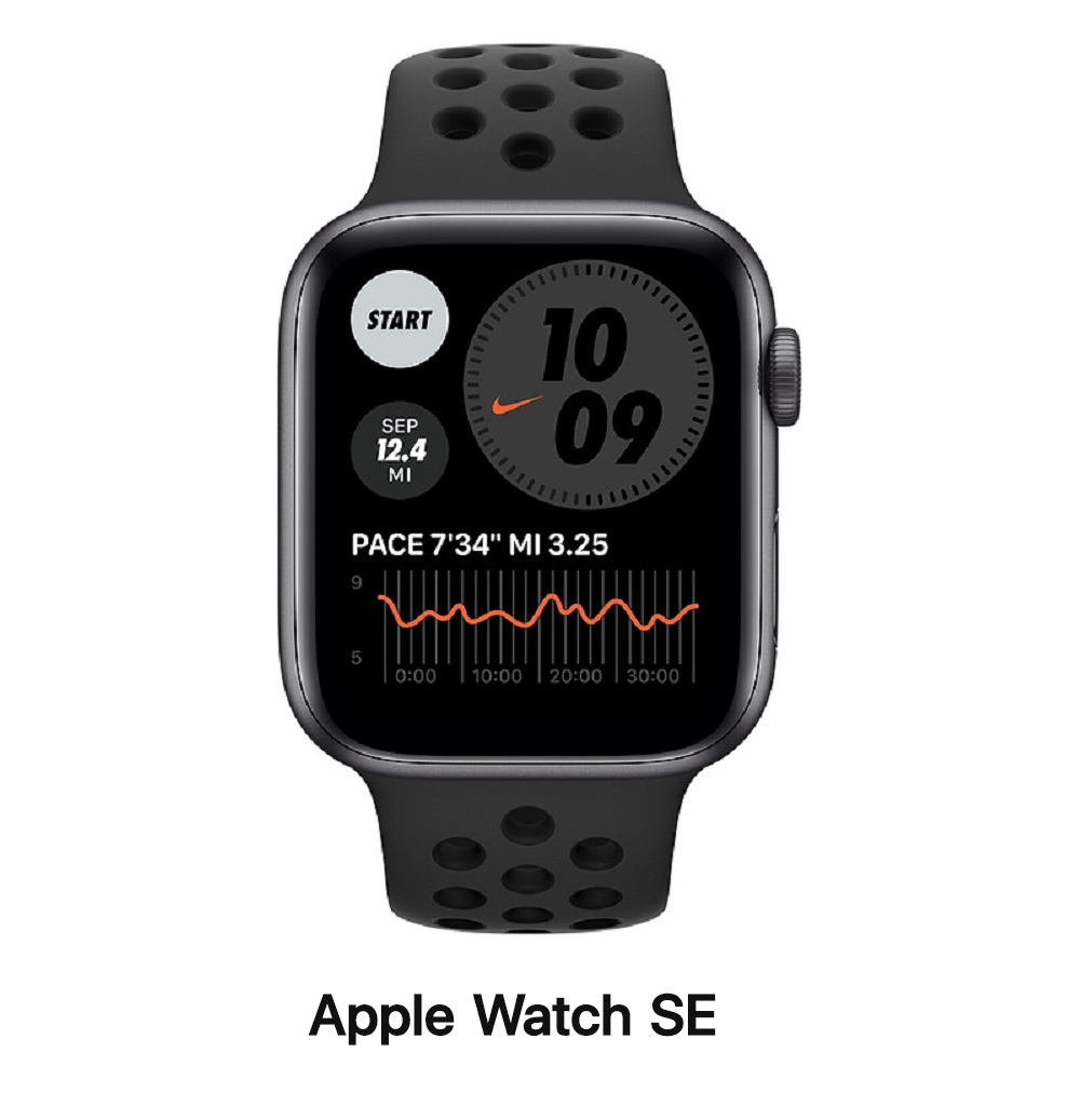 Apple Watch SE Nike+ 44mm LTE版 太空灰鋁錶殼配黑運動錶帶(MG0A3TA/A)