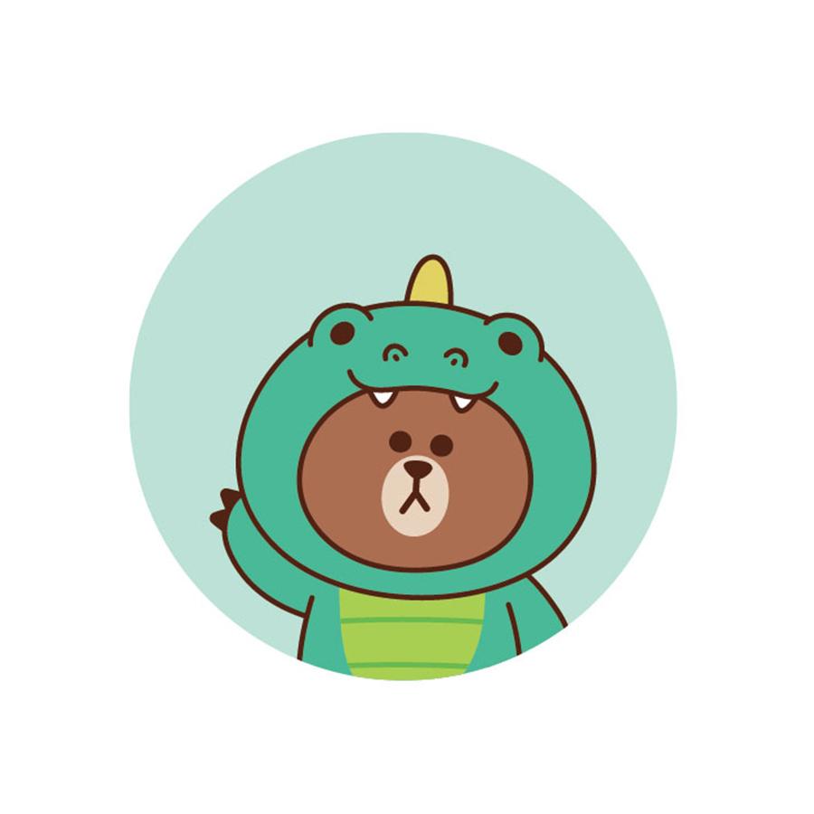 【收納王妃】LINE FRIENDS授權叢林系列珪藻土吸水杯墊 (2入一組)【恐龍熊大】