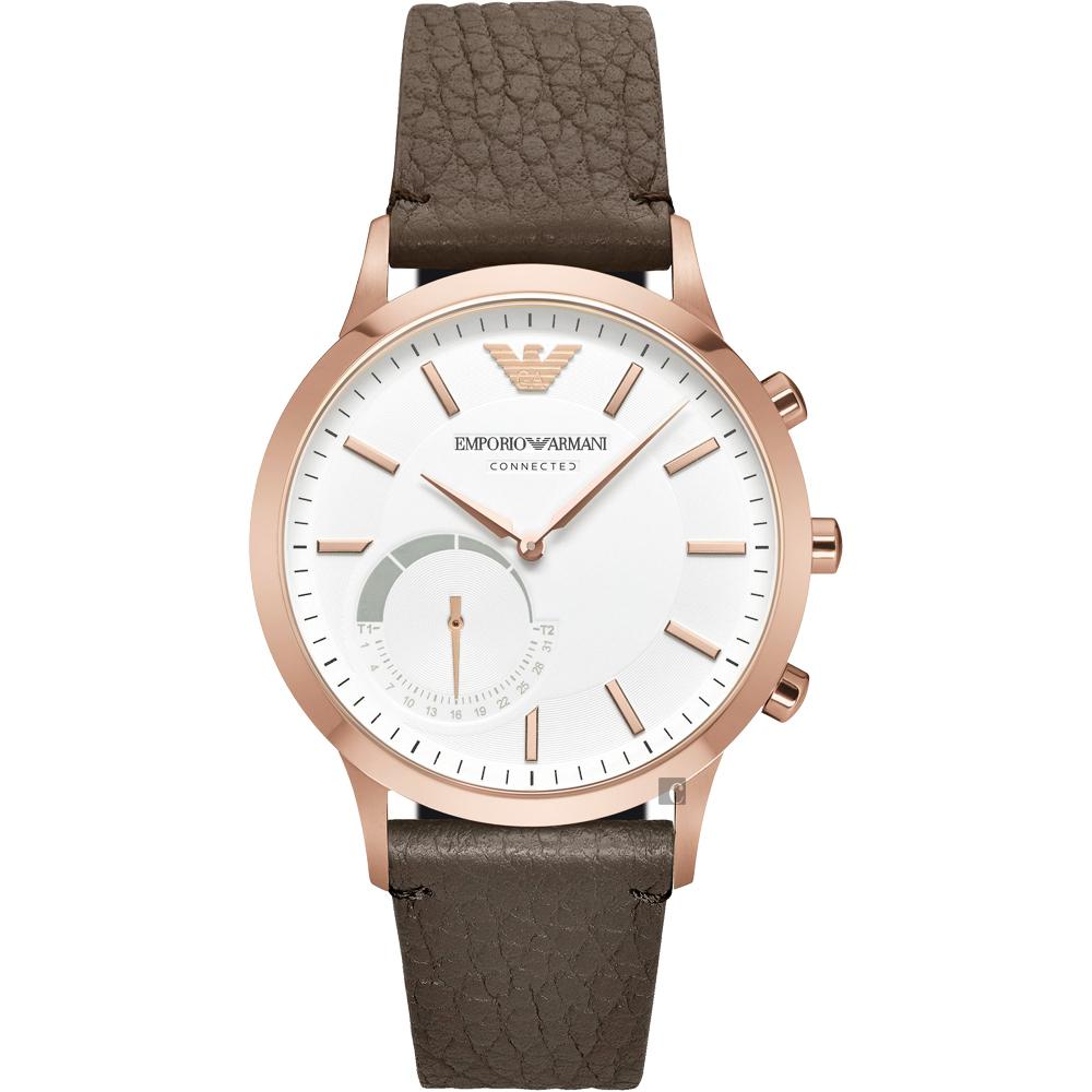 Emporio Armani Connected Hybrid 智慧型腕錶-玫瑰金框x咖啡 ART3002