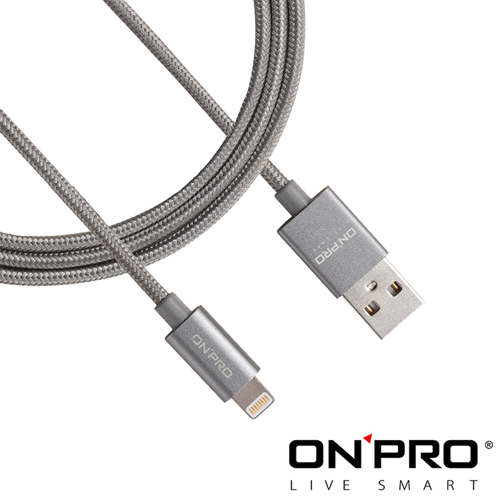 ONPRO UC-MFIM 金屬編織質感 Lightning USB充電傳輸線 1M-鈦色