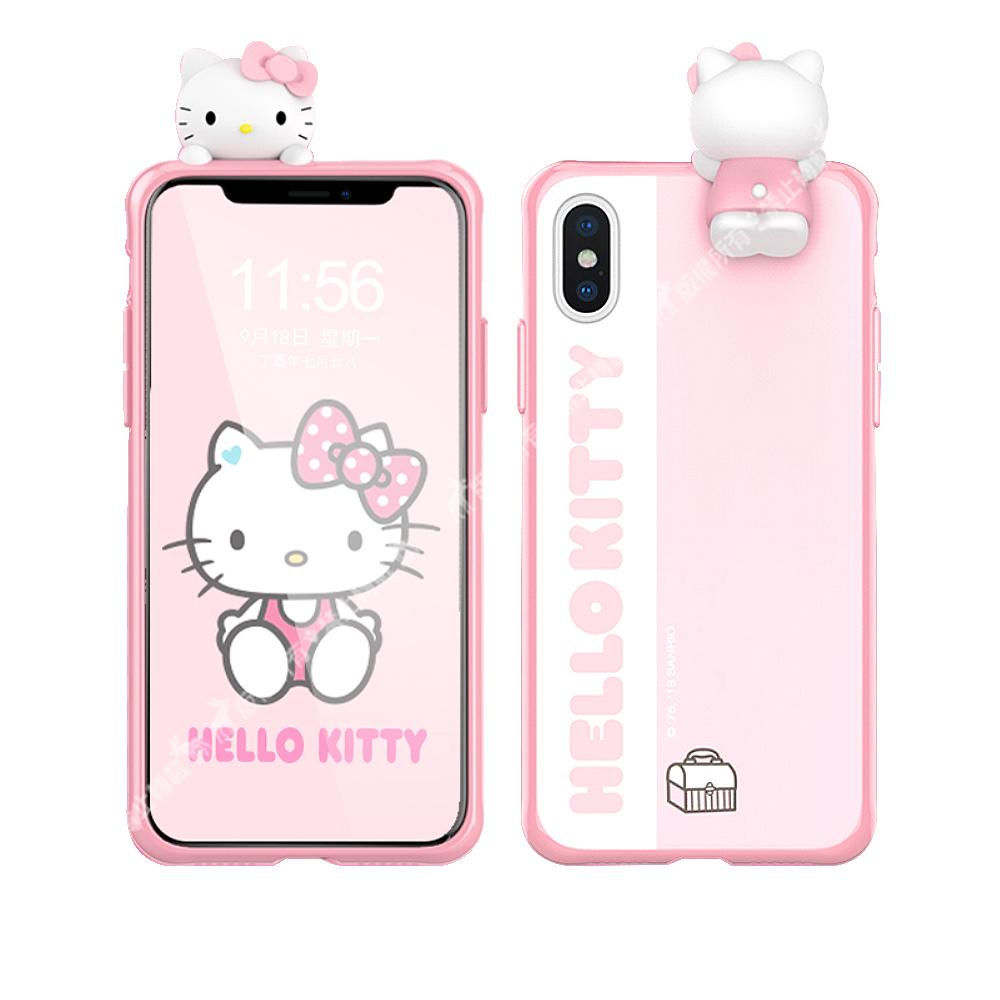 三麗鷗 Hello Kitty凱蒂貓 iPhone Xs Max 6.5吋 萌雙料3D立體手機殼(趴趴)