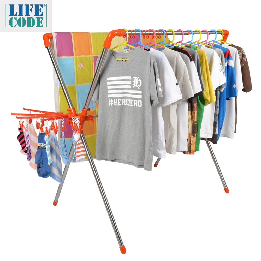 【LIFECODE】日光免螺絲X型曬衣架(桔色)-附2個曬襪架+防風掛勾