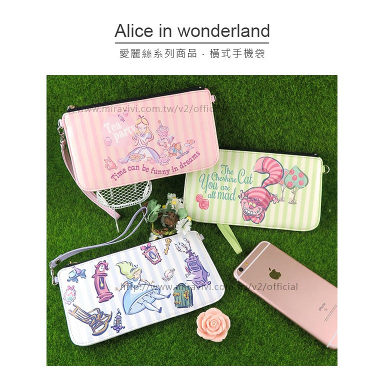 【Disney】迪士尼愛麗絲夢遊仙境.妙妙貓橫式手機袋/手拿包/萬用袋-粉
