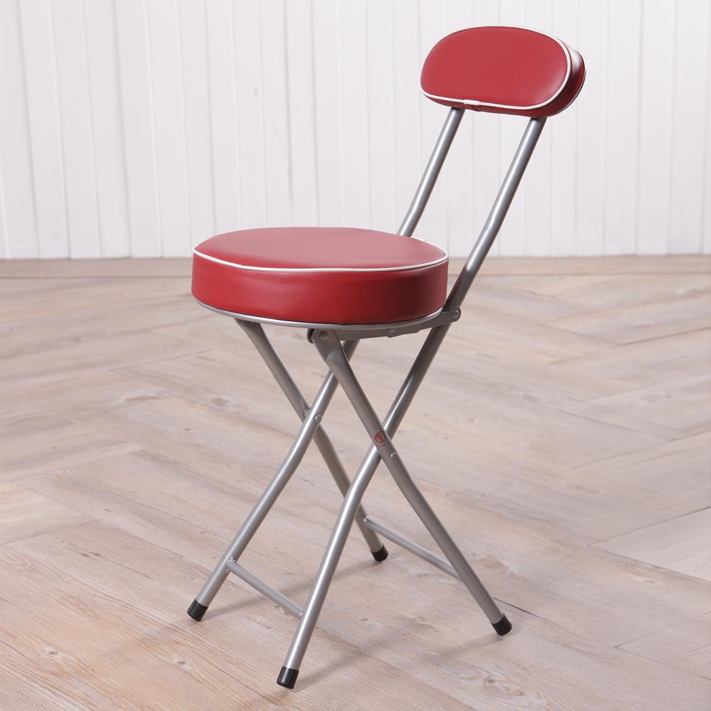 BASIC 紅色靠背折疊椅-生活工場