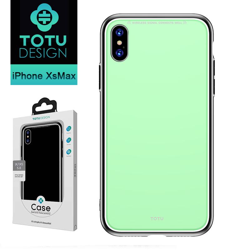 【TOTU台灣官方】 iPhoneXSMax手機殼 iXSMax 玻璃防摔殼 風範系列 淺綠