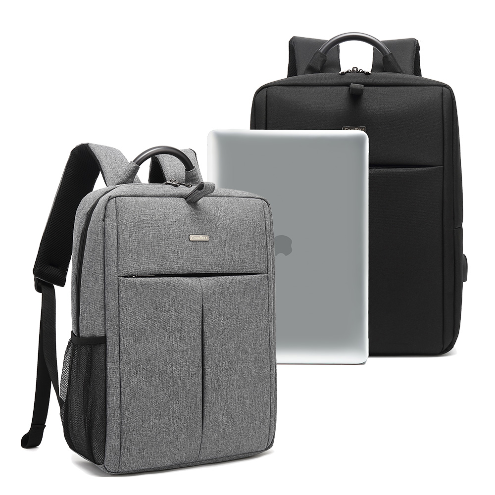 15.6吋 通勤日常 防潑水MacBook學生書包 上班族平板筆電後背包(覺青灰)