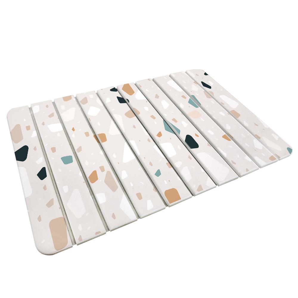 【收納王妃】(磨石子-米)-自然風 折疊式珪藻土超吸水地墊60*39
