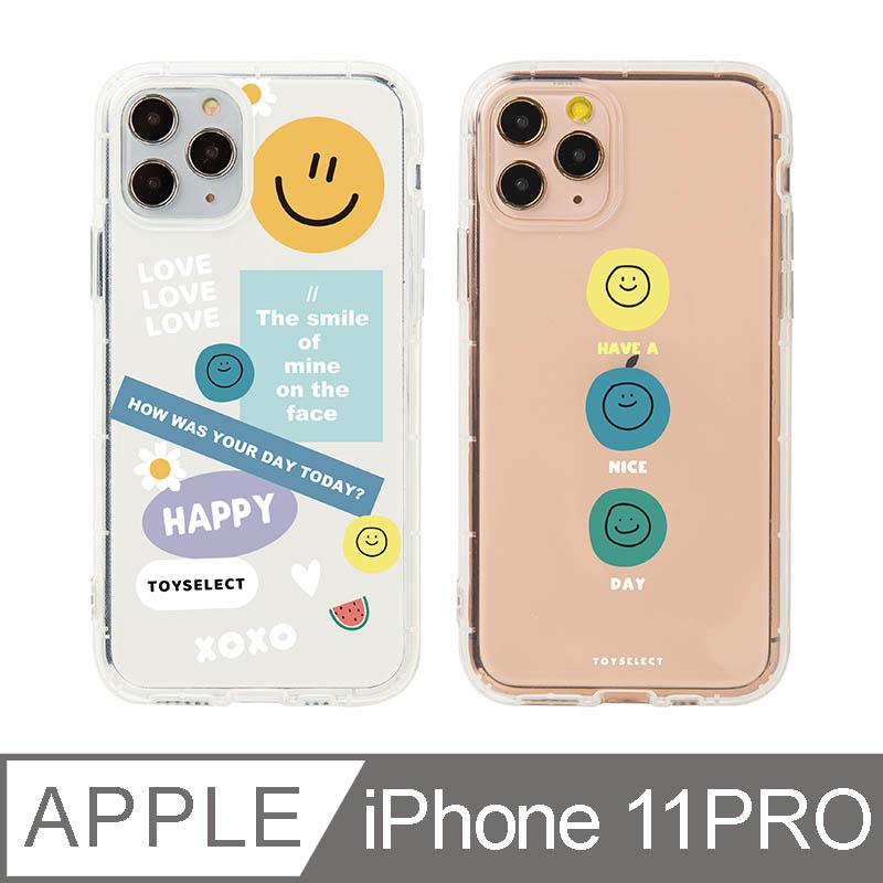 iPhone 11 Pro 5.8吋 Smilie微笑淡彩 拼貼透明防摔iPhone手機殼 拼貼