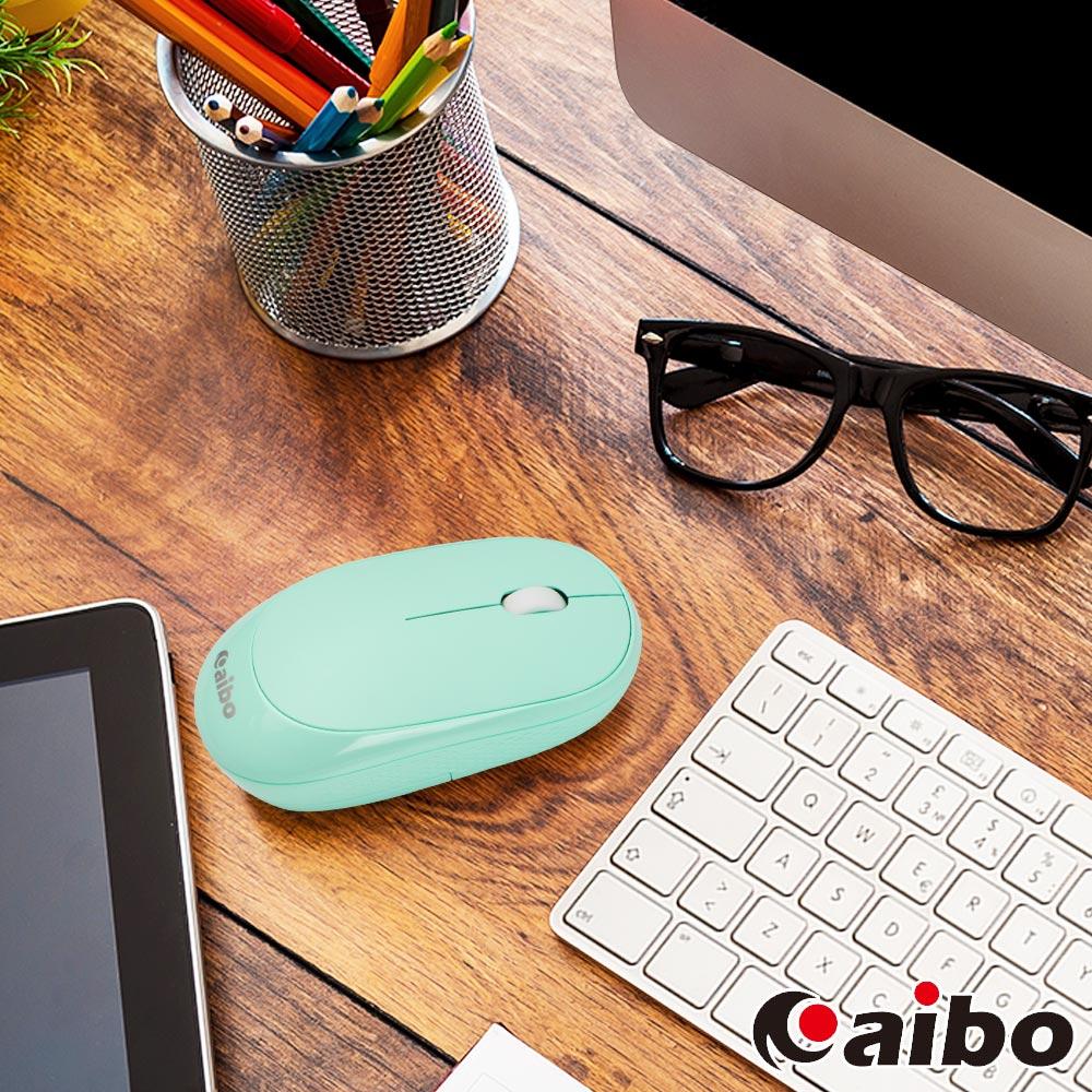 aibo 藍牙/2.4G 雙模式 無線靜音滑鼠-藍綠