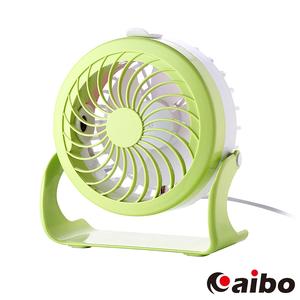 aibo AB12 USB雙噴霧桌上型可調速風扇-粉綠
