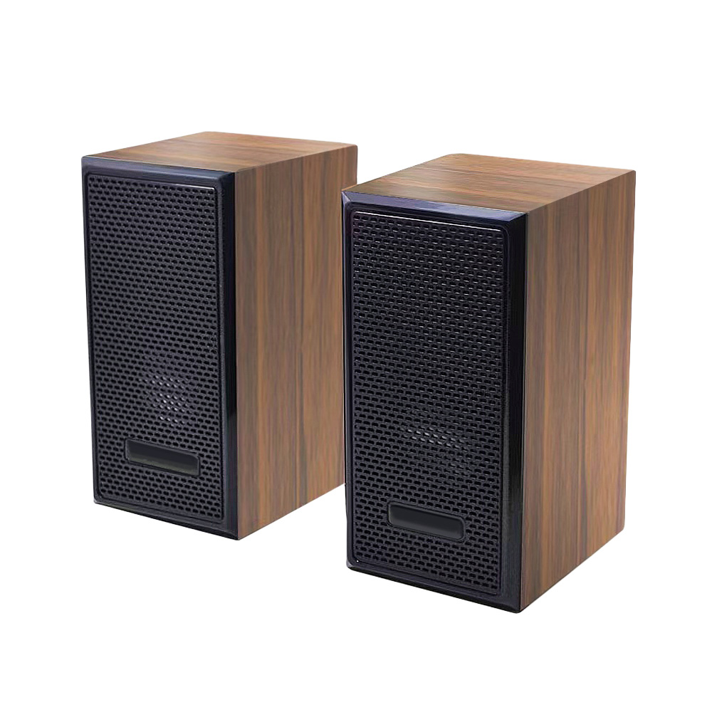 FJ F07重低音立體聲木質有線喇叭 棕紋木