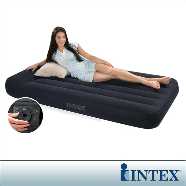 【INTEX】舒適型內建電動幫浦充氣床墊-單人加大-寬99cm-有頭枕(66775)