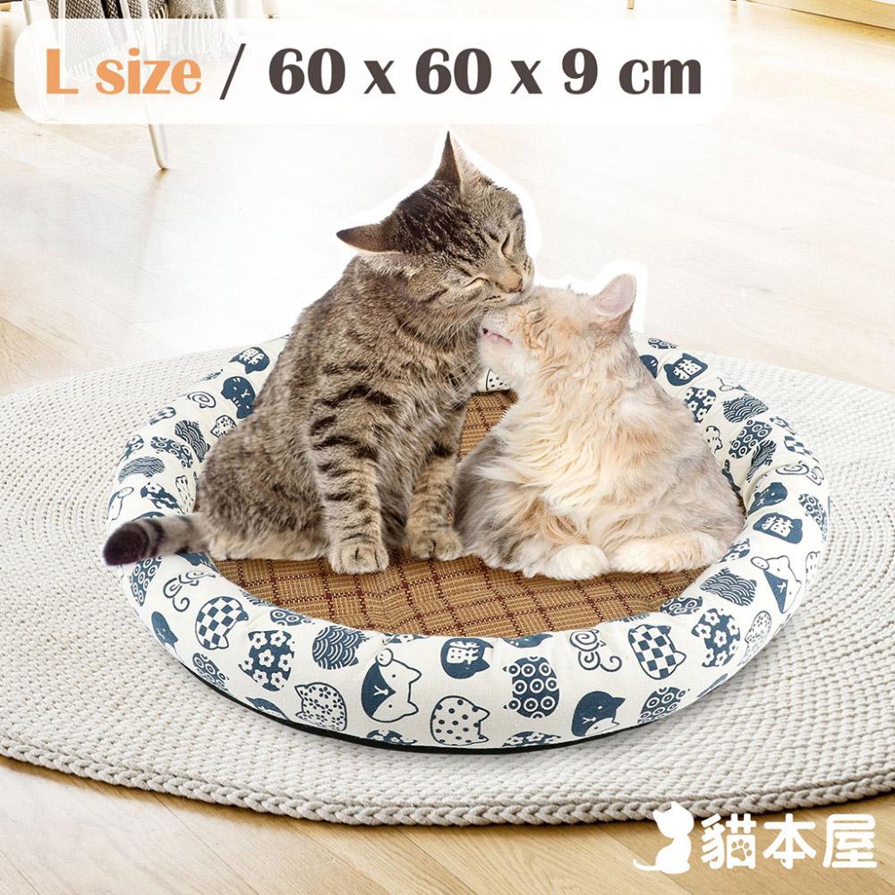 貓本屋 日式和風寵物涼蓆墊(L號/60x60cm)-白底藍貓
