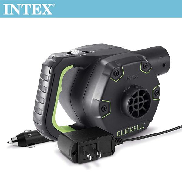 【INTEX】3合1可蓄電充氣幫浦110V+12V+蓄電池(充洩二用)(66641)