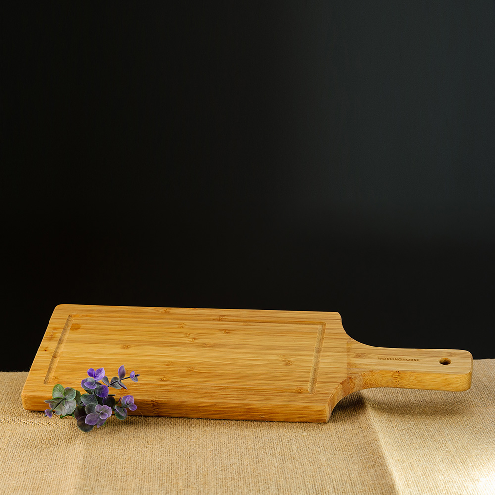 Natural手把長型竹砧板43CM-生活工場