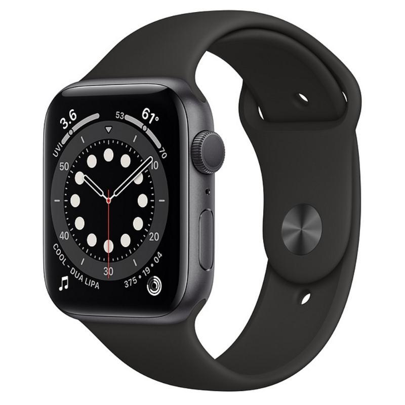 【血氧檢測】Apple Watch S6 GPS 44mm 太空灰色鋁金屬-黑色運動型錶帶