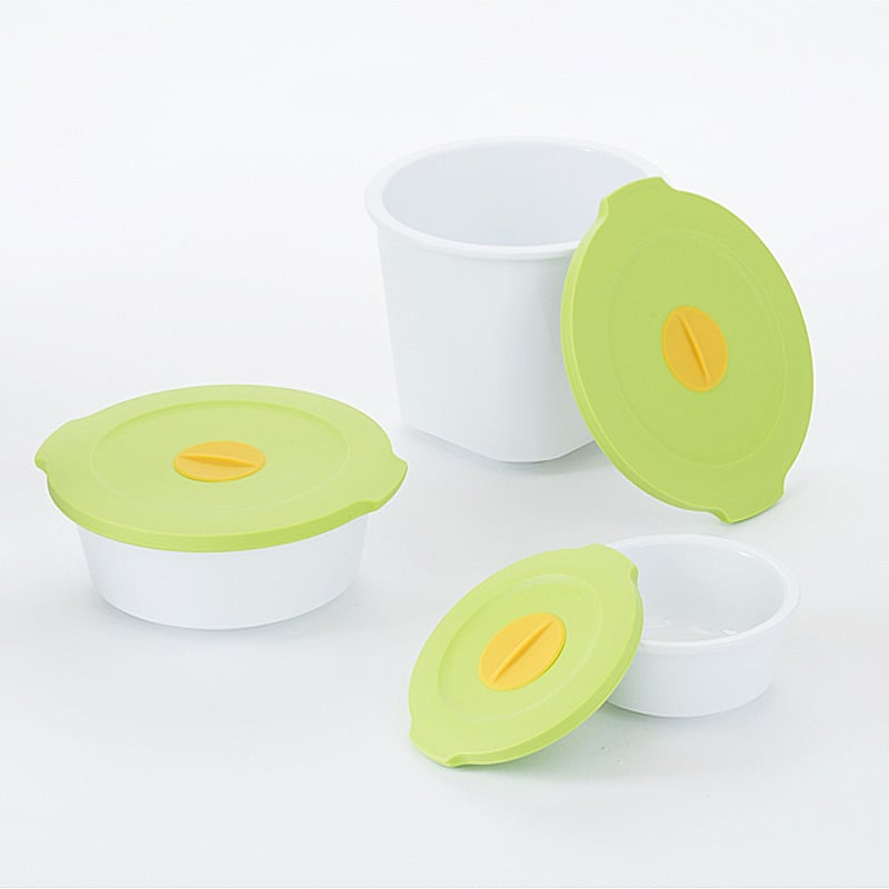 【台灣 S.E.E.】Breere 保鮮盒三件組-綠蓋白身+圓盤組
