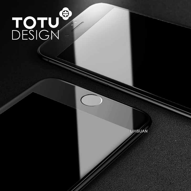 【TOTU台灣官方】iPhone8Plus滿版鋼化膜 防碎邊曲面軟邊玻璃貼 犀牛家族 黑色