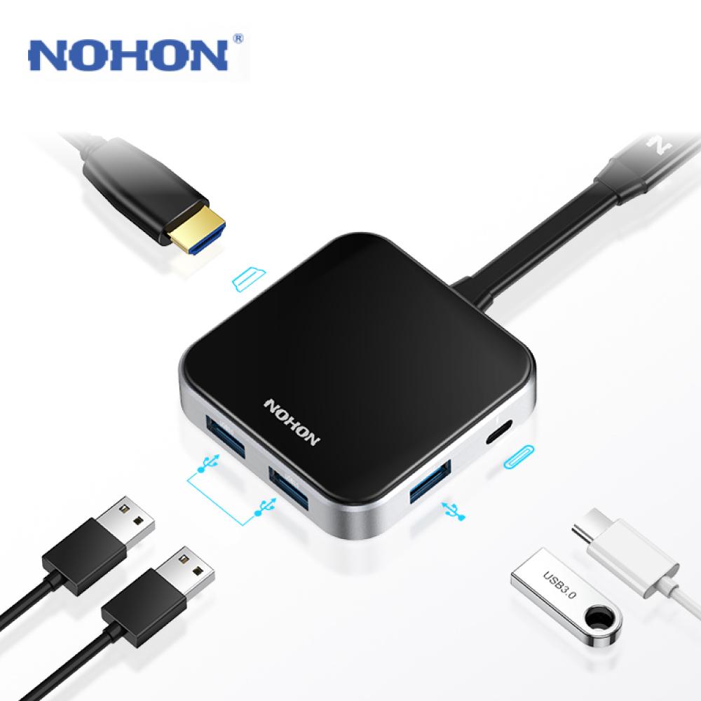 NOHON 5合1 MacBook Pro Type-C PD USB3.0 4K 多功能擴充HUB轉接器
