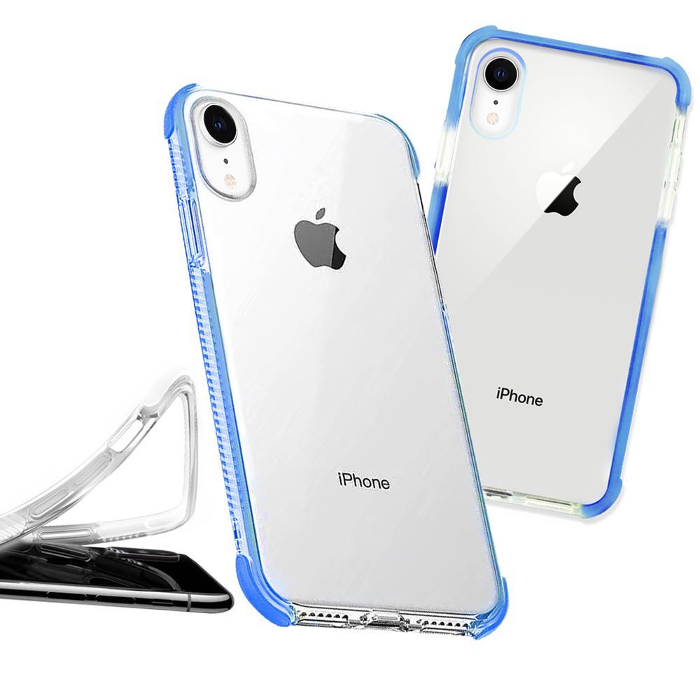 iPhone XR 6.1吋 彩虹多色邊條可換式防摔手機殼(悍將藍)
