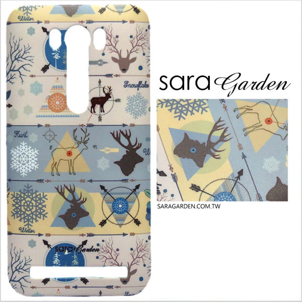 【Sara Garden】客製化 手機殼 ASUS 華碩 Zenfone2 laser 5吋 ZE500KL 手工 保護殼 硬殼 質感線條麋鹿
