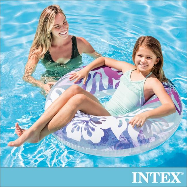【INTEX】南洋風游泳圈-直徑91cm-紫色 適用9歲以上(59251)