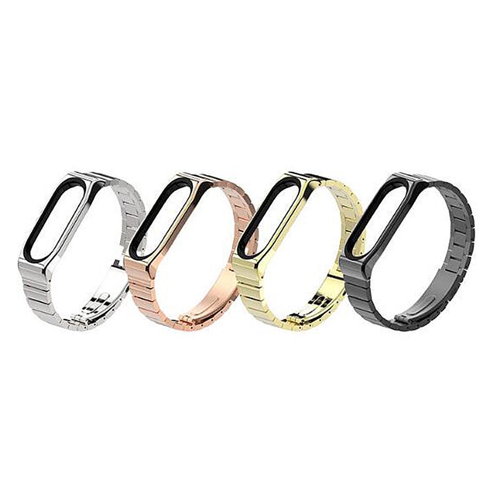 mijobs 小米手環 4 / 手環 3 不鏽鋼腕帶(竹節款)(金色)